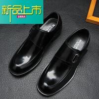 新品上市18新款男士商务正装皮鞋真皮圆头韩版搭扣魔术贴大头套脚皮鞋男 黑色