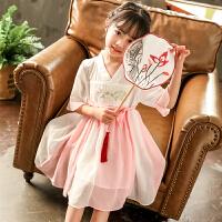 女童唐装夏民族风公主儿童复古中国风童装改良襦裙仙女汉服连衣裙