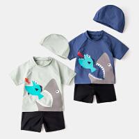 童装夏季宝宝分体泳衣泳裤套装宝宝沙滩游泳衣男童泳装洋气三件套