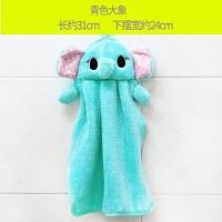 珊瑚绒挂式擦手巾可爱儿童卡通加厚吸水擦手布厨房毛巾抹布搽手巾y 31x24cm