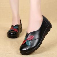 中老年女鞋平底防滑老人奶奶鞋秋季单鞋女妈妈皮鞋真皮软底民族风