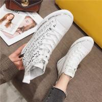 高帮板鞋女2019春季新款时尚牛皮字母系带个性学生百搭休闲板鞋