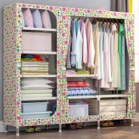 索尔诺简易衣柜布艺钢架加粗加固布衣柜简约现代经济型组装衣橱收纳柜2509D