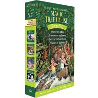 现货 神奇树屋 第5-第8册 盒装 小套装 英文原版 Magic Tree House #5-8 忍者之夜 亚马孙河下午 剑齿虎的日落 月光