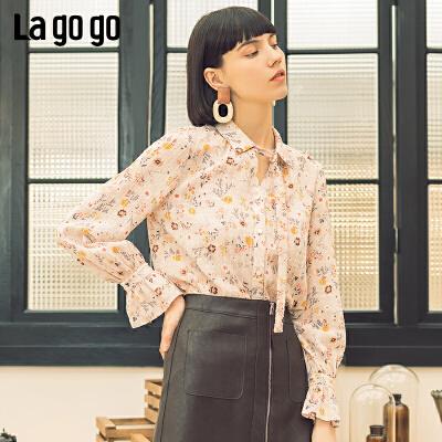 Lagogo/拉谷谷2019年春季新款时尚女淑女风系带衬衫IACC401C17