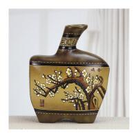 家居装饰品摆件创意手绘陶瓷工艺品客厅博古架酒柜摆设民族手工艺品 苹果瓶 咏梅