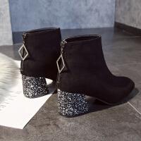 chic马丁靴女英伦风2018新款短靴女粗跟加绒亮片高跟女靴及裸靴潮 黑色