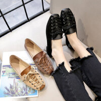 韩版舒适软底女士单鞋 新款小清新交叉带女鞋 时尚两穿休闲鞋方头浅口单鞋女