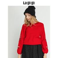 【清仓3折价149.7】Lagogo/拉谷谷2019冬季新款潮味时尚针织衫女HCMM41YQ21