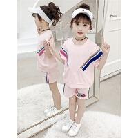 儿童运动套装女童夏装时尚短袖短裤休闲运动两件套