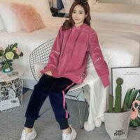 2019新款孕妇秋冬装套装时尚款新款冬装加绒加厚金丝绒休闲卫衣两件套 粉红色套装