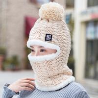 毛线帽子女冬天韩版针织帽保暖围脖一体帽加厚骑车帽女冬季护耳帽