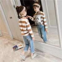 女童休闲套装春装时尚洋气两件套牛仔裤中大童儿童潮
