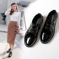 百搭韩版原宿平跟粗跟小黑皮鞋秋冬季英伦学院风布洛克系带女鞋子 黑色