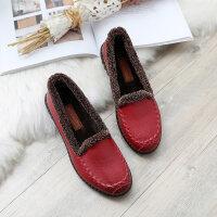 老太太妈妈棉鞋老人加绒中老年滑保暖平底奶奶软底女鞋冬鞋