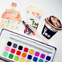 乔尔乔内固体手帐水彩颜料18色套装24初学者水粉饼手绘画工具铁盒