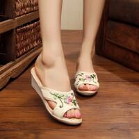 居家外穿亚麻舒适拖鞋绣花鞋牛筋底老北京布鞋女拖鞋坡跟单鞋