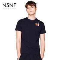 NSNF装饰刺绣图案黑色纯棉男款修身T恤 2017短袖新款T恤男款 修身圆领针织短袖