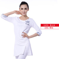 女士白色休闲长袖瑜伽服上衣 复古清新女士民族风瑜珈上装
