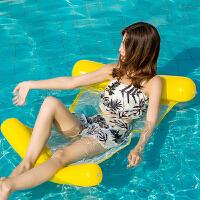 水上躺椅 水上折叠充气床2019新款可折叠靠背水上充气吊床水上躺椅水中浮椅