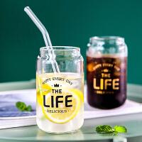 易拉罐造型玻璃杯网红ins风咖啡杯冰可乐杯拿铁杯饮料杯冷饮杯子