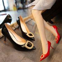 少女高跟鞋细跟百搭方扣中跟6cm尖头性感小清新工作上班职业单鞋