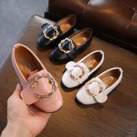 春秋女童皮鞋平底小女孩黑色公主鞋儿童单鞋女豆豆鞋
