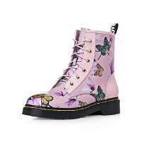 【 限时4折】哈森旗下爱旅儿帅气马丁靴芙蓉花低跟冬靴EA68225