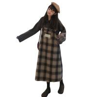新年礼物韩版时尚休闲套装秋冬女装POLO领针织毛衣格子背带连衣裙两件套 均码