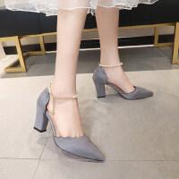 一字跟高跟鞋女时尚韩版百搭鞋子尖头浅口粗跟单鞋
