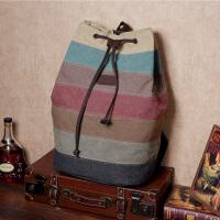 双肩包女韩版潮水桶包大容量旅行双肩包学生书包条纹抽带韩版背包