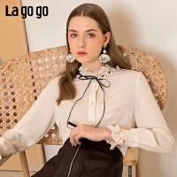 【清仓5折价161】Lagogo/拉谷谷2019年春季新款时尚女淑女风系带衬衫IACC431C20