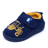 英单冬儿童棉拖鞋男宝宝包跟汽车防滑保暖软底卧室内居家地板鞋 藏青色