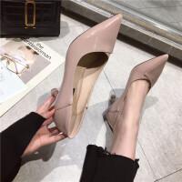 高跟鞋女2019新款时尚尖头浅口细跟高跟单鞋简约气质通勤上班鞋