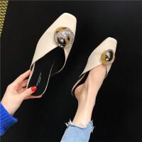 韩版女士方头单鞋春季百搭舒适休闲拖鞋时尚新款女鞋黑