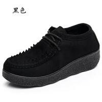 春秋老北京布鞋女鞋单鞋坡跟平底松糕厚底豆豆鞋圆头系带女 黑色 系带D17-C21