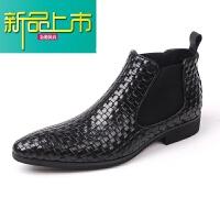 新品上市欧美手工编织男鞋真皮高帮鞋男士商务正装皮靴尖头短靴男靴 黑色