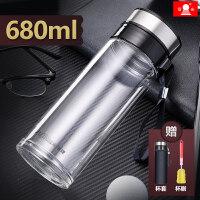 玻璃杯大容量水杯茶杯透明带盖过滤男泡茶单层便携杯子500ml抖音