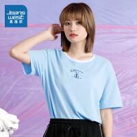 真维斯女装 2021夏装新款拉架布印花撞色圆领短袖T恤