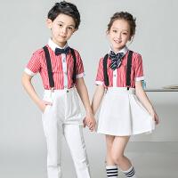 男女童花童礼服钢琴大合唱团朗诵幼儿园儿童演出服背带裤套装