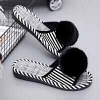 春季女士拖鞋室内户外水滑PU皮面厚底毛球开口拖鞋女夏 黑白色