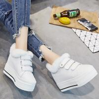 内增高10cm女鞋韩版加绒松糕鞋2018冬季新品休闲鞋兔毛小白鞋