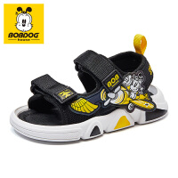 巴布豆童鞋男童凉鞋2021年夏季新款女童宝宝儿童包头防滑机能鞋子-黑黄