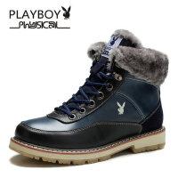 花花公子雪地靴加绒男士棉鞋保暖真皮短靴厚底防滑高帮男鞋子CX37595