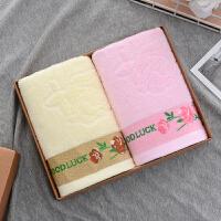 毛巾礼盒套装/2条装/婚庆回礼生日祝寿礼品毛巾定制Y 桔色 彩色花朵粉+黄 73x33cm