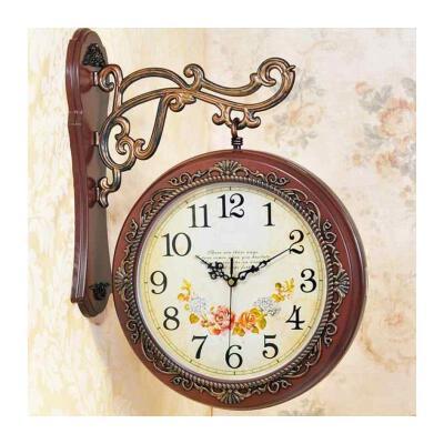 两面客厅壁钟挂钟 双面客厅石英手表装饰美式镂空宝宝静音钟表创意欧式壁挂机械表男童 黑色 大号复古棕色
