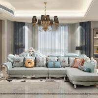欧式布艺沙发组合新款客厅整装仿真皮实木转角沙发家具简欧沙发l 款式一 左贵妃