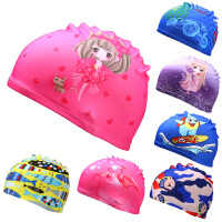 新儿童泳帽卡通公主布泳帽宝宝泳帽男童女童舒适大弹力泳帽游泳馆