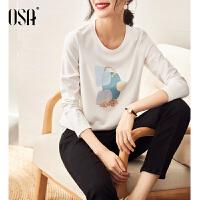 【3折折后价:149元】OSA欧莎2021年秋装新款时尚印花薄款打底衫体恤百搭长袖T恤女