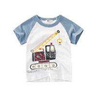 童装男童短袖T恤工程车宝宝夏装儿童上衣夏季纯棉